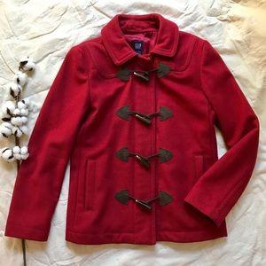 Gap Toggle Peacoat Wool Red Cherry Burgundy